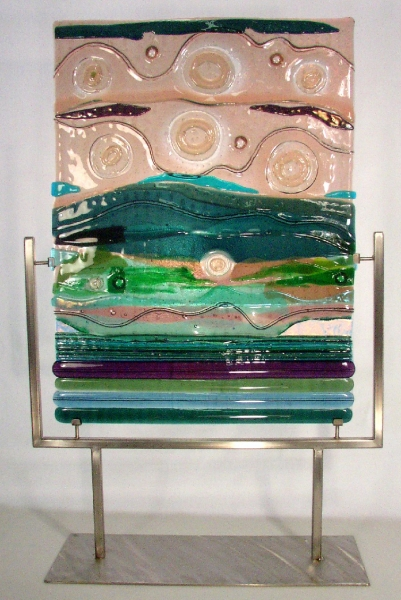 Fused-Glass-Sculpture-in-Stainless-Steel-Stand