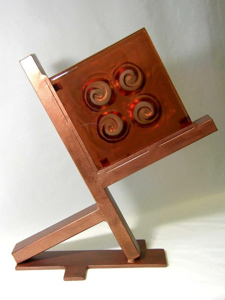 Kiln-Cast-Glass-Block-in-Metal-Stand