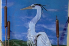 Kiln-formed-Blue-Heron-in-Metal-Stand